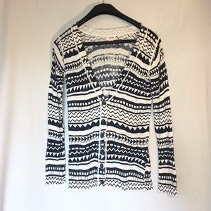 Mossimo Black and White Long Sleeve Cardigan